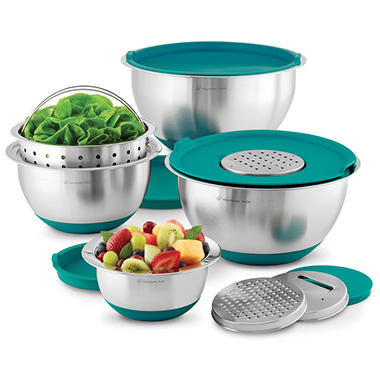 Wolfgang Puck Stainless-Steel Mixing Bowls with Lids, 12-Piece Set (Various Colors)
