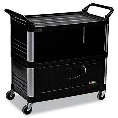 Rubbermaid Xtra Equipment Cart with Doors - Black