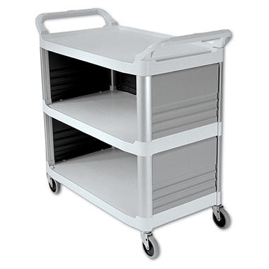 Rubbermaid Xtra Utility Cart, Enclosed 3 Sides - Off White