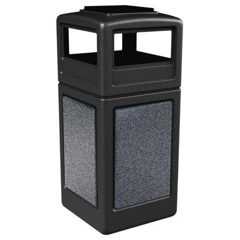 Commercial Zone StoneTec Waste Container with Ashtray Lid, 42-gal, Polyethylene (Choose Your Color)