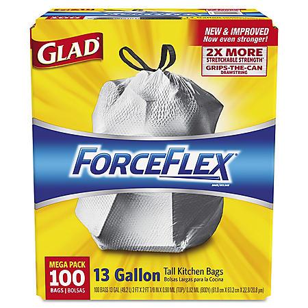 Glad ForceFlex Tall Kitchen Drawstring Trash Bags, 13 Gallon (100 ct.)