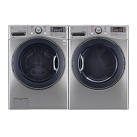 LG - Ultra-Large-Capacity Front-Load Washer with TurboWash and Gas Dryer Bundle - Graphite Steel