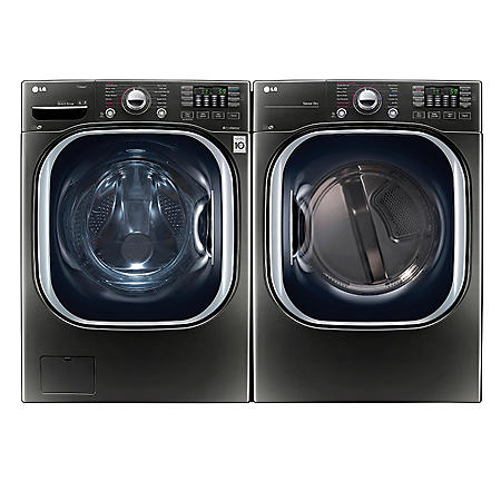 LG - Ultra-Large-Capacity Front-Load Washer with TurboWash and Gas Dryer Bundle - Black Stainless Steel