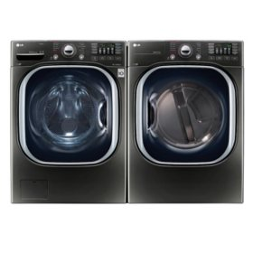 Ultra-Large-Capacity Front-Load Washer with TurboWash and Gas Dryer Bundle - Black Stainless Steel