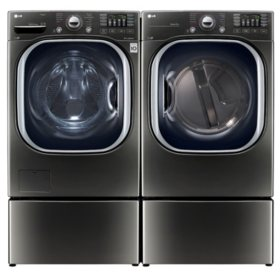 LG Ultra-Large-Capacity Front-Load Washer with Laundry Pedestal and Gas Dryer with Laundry Pedestals Bundle - Black Stainless Steel