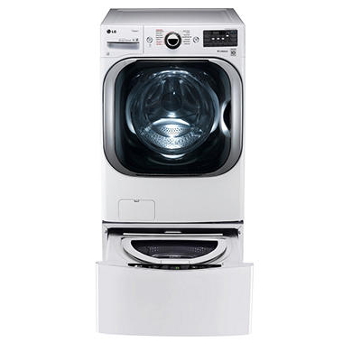 LG Mega-Capacity Front-Load Washer, SideKick Pedestal Washer, and Dryer with Laundry Pedestal Bundle - White