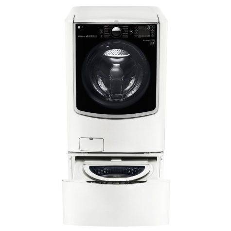 Mega-Capacity Front-Load Washer, SideKick Pedestal Washer, and Dryer with Laundry Pedestal Bundle - White