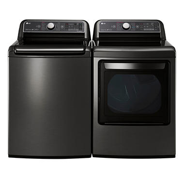 Mega-Capacity Top-Load Washer with TurboWash and Ultra-Capacity TurboSteam Gas Dryer Bundle - Black Stainless Steel