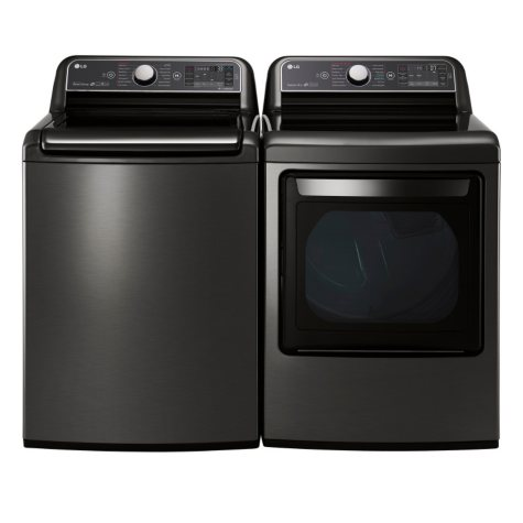 LG - Mega-Capacity Top-Load Washer with TurboWash and Ultra-Capacity TurboSteam Gas Dryer Bundle - Black Stainless Steel