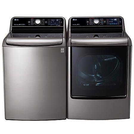 LG - Mega-Capacity Top-Load Washer With TurboWash Technology and TurboSteam Dryer With EasyLoad Door Bundle - Graphite Steel