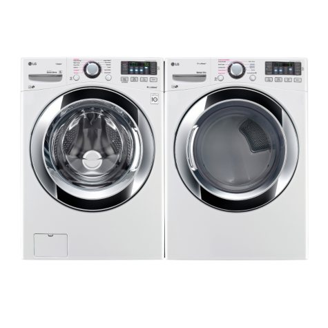 Ultra-Large-Capacity Front-Load Washer with Steam Technology and Gas Dryer Bundle - White