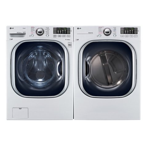 Ultra-Large-Capacity Front-Load Washer with TurboWash and Gas Dryer Bundle - White