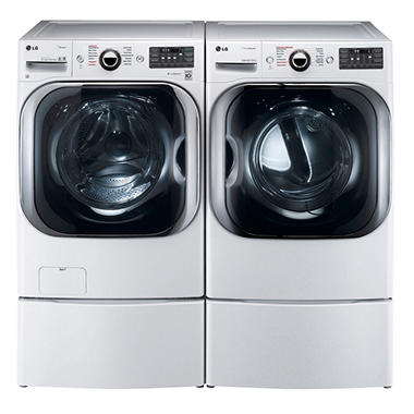 Lg Mega Capacity Front Load Washer With Laundry Pedestal