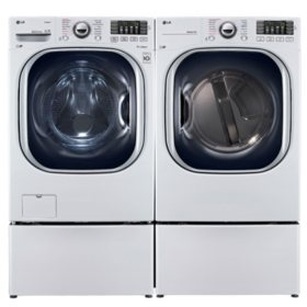 LG Ultra-Large-Capacity Front-Load Washer with Laundry Pedestal and Gas Dryer with Laundry Pedestals Bundle - White