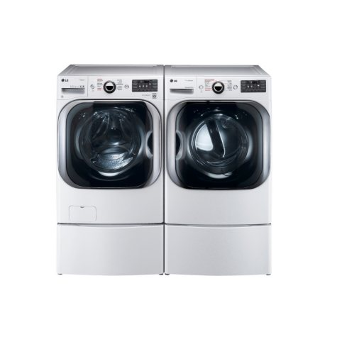 LG Mega-Capacity Front-Load Washer with Laundry Pedestal and Electric Dryer with Laundry Pedestal Bundle - White