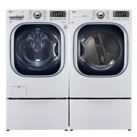 LG Ultra-Large-Capacity Front-Load Washer with Laundry Pedestal and Electric Dryer with Laundry Pedestals Bundle - White