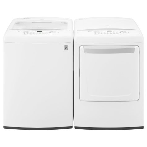 Ultra-Large-Capacity Top-Load Washer and Gas Dryer Bundle - White