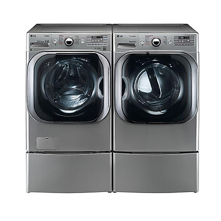 LG - Mega-Capacity Front-Load Washer with Laundry Pedestal and Gas Dryer with Laundry Pedestal Bundle - Graphite Steel