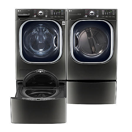 LG - Ultra-Large Capacity Front-Load Washer, SideKick Pedestal Washer and Dryer with Laundry Pedestal Bundle - Black Stainless Steel