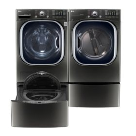 Ultra-Large Capacity Front-Load Washer, SideKick Pedestal Washer and Dryer with Laundry Pedestal Bundle - Black Stainless Steel