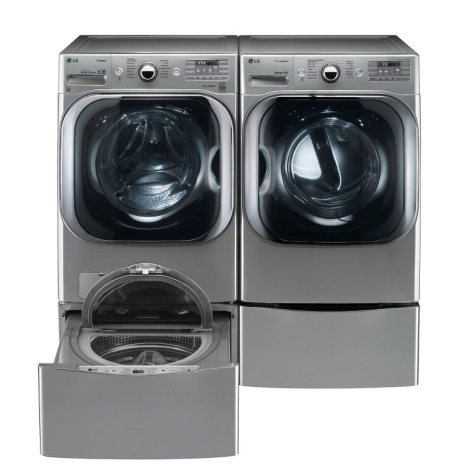 Mega-Capacity Front-Load Washer, SideKick Pedestal Washer, and Dryer with Laundry Pedestal Bundle - Graphite Steel
