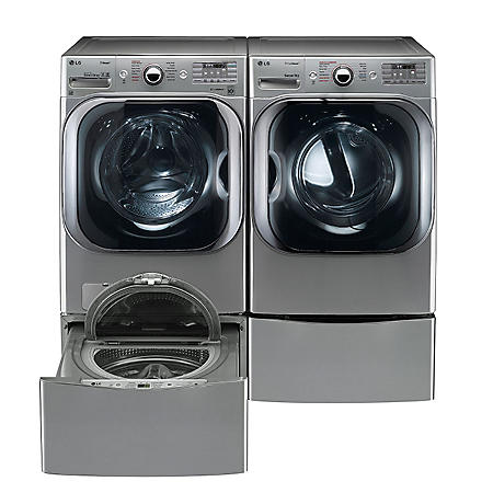 LG - Mega-Capacity Front-Load Washer, SideKick Pedestal Washer, and Gas Dryer with Laundry Pedestal Bundle - Graphite Steel