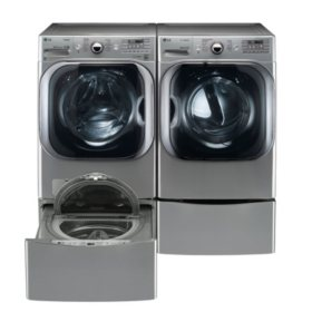 Mega-Capacity Front-Load Washer, SideKick Pedestal Washer, and Gas Dryer with Laundry Pedestal Bundle - Graphite Steel
