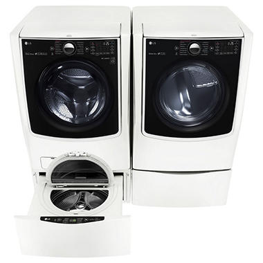 Mega-Capacity Front-Load Washer, SideKick Pedestal Washer, and Gas Dryer with Laundry Pedestal Bundle - White
