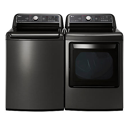 LG - Mega-Capacity Top-Load Washer and Ultra-Capacity Dryer Bundle - Black Stainless Steel