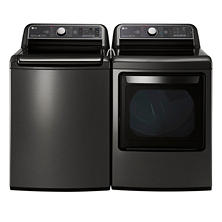 Mega-Capacity Top-Load Washer and Ultra-Capacity Dryer Bundle - Black Stainless Steel