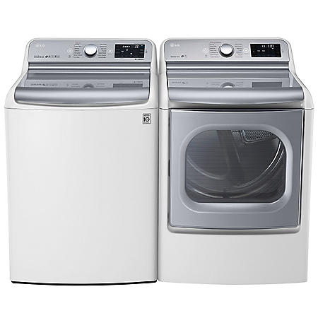 LG - Mega-Capacity Top-Load Washer With TurboWash Technology and TurboSteam Dryer with EasyLoad Door Bundle - White