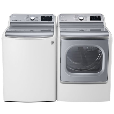Mega-Capacity Top-Load Washer with TurboWash Technology and TurboSteam Gas Dryer with EasyLoad Door Bundle - White