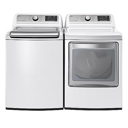LG - Mega-Capacity Top-Load Washer with TurboWash and Ultra-Capacity TurboSteam Gas Dryer Bundle - White
