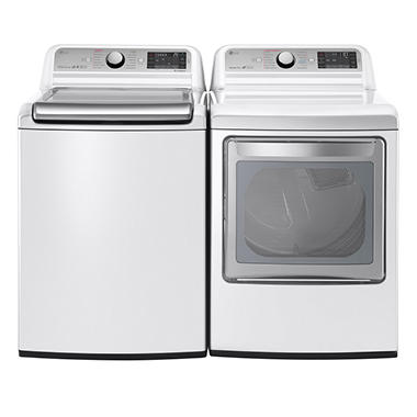 Mega-Capacity Top-Load Washer with TurboWash and Ultra-Capacity TurboSteam Gas Dryer Bundle - White