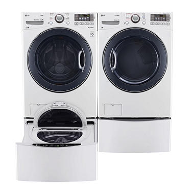 Ultra-Large Capacity Front-Load Washer, SideKick Pedestal Washer and Dryer with Laundry Pedestal Bundle - White
