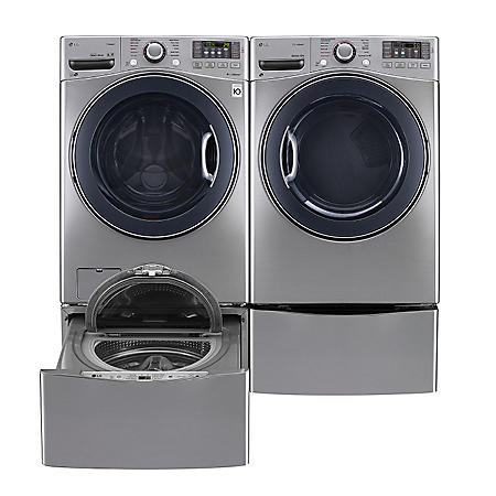 LG - Ultra-Large-Capacity Front-Load Washer, SideKick Pedestal Washer, and Gas Dryer with Laundry Pedestal Bundle - Graphite Steel