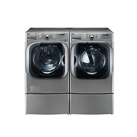 LG - Mega-Capacity Front-Load Washer with Laundry Pedestal and Electric Dryer with Laundry Pedestal Bundle - Graphite Steel