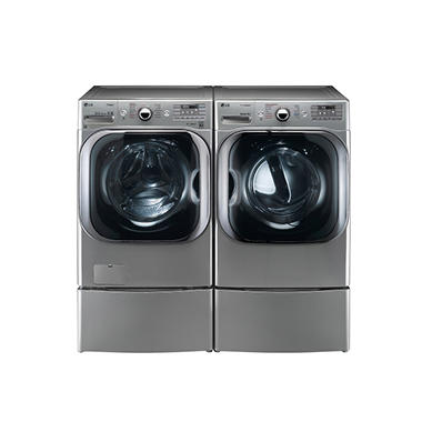 LG Mega-Capacity Front-Load Washer with Laundry Pedestal and Electric Dryer with Laundry Pedestal Bundle - Graphite Steel