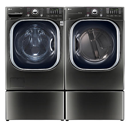 LG - Ultra-Large-Capacity Front-Load Washer with Laundry Pedestal and Electric Dryer with Laundry Pedestal Bundle - Black Stainless Steel