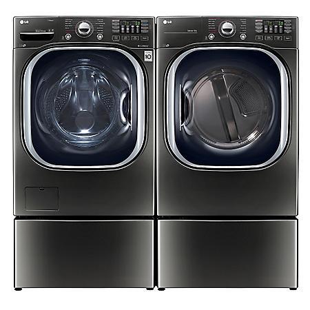 LG 4.5 cu. ft. Front Load Washer & 7.4 cu.ft. Dryer on Pedestals - Black Stainless Steel