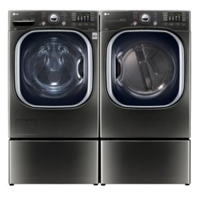 LG Ultra-Large-Capacity Front-Load Washer with Laundry Pedestal and Electric Dryer with Laundry Pedestal Bundle - Black Stainless Steel