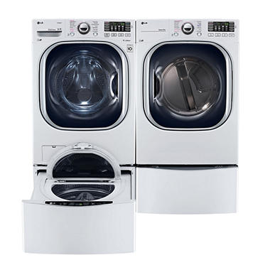 Ultra-Large-Capacity Front-Load Washer, SideKick Pedestal Washer, and Gas Dryer with Laundry Pedestal Bundle - White