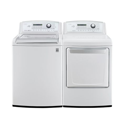 Mega-Capacity Top-Load Washer with TurboWash and Ultra-Capacity Gas Dryer Bundle - White