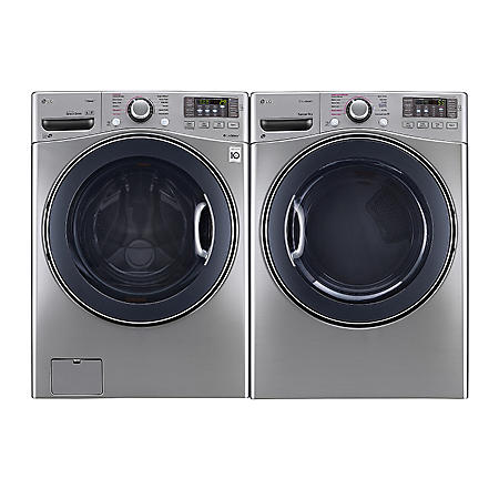 LG - Ultra-Large Capacity Front-Load Washer and Dryer Bundle - Graphite Steel