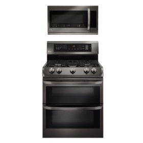 LG Gas Double-Oven Range with ProBake Convection, EasyClean and Over-the-Range Microwave Oven Bundle - Black Stainless Steel