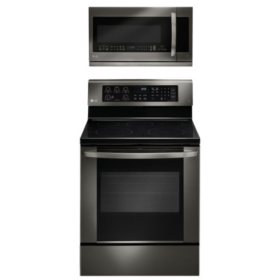 Single-Oven Electric Range with EasyClean and Over-the-Range Microwave Oven Bundle - Black Stainless Steel