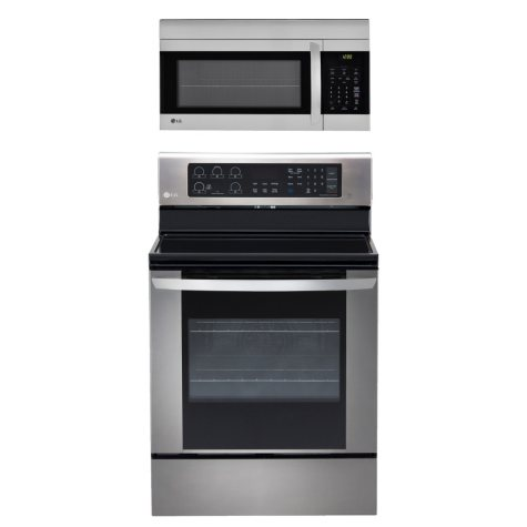 Single-Oven Electric Range with EasyClean and Over-the-Range Microwave Oven Bundle - Stainless Steel