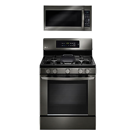 LG - Single-Oven Gas Range with EasyClean and Over-the-Range Microwave Oven Bundle -  Black Stainless Steel