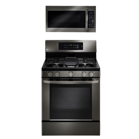 Single-Oven Gas Range with EasyClean and Over-the-Range Microwave Oven Bundle -  Black Stainless Steel