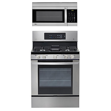 LG - Single-Oven Gas Range with EasyClean and Over-the-Range Microwave Oven Bundle - Stainless Steel